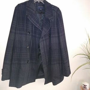 Men's Navy Plaid Banana Republic Wool Coat L